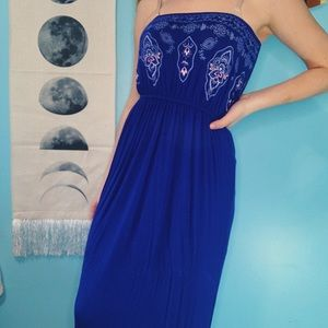 strapless blue dress